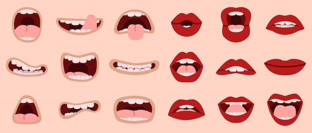 Cartoon cute mouth. hand drawn comic mouths and lips, laughing with teeth and showing tongues caricature mouths  illustration icons set. makeup lip, tongue sticking, romantic and shouting