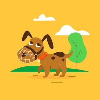 Мультяшный милый щенок в наморднике