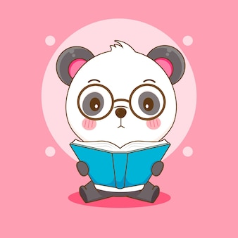 Cartoon of cute nerd panda with glasses reading a book