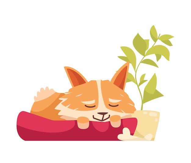 Cartoon cute old dog sleeping on his bed