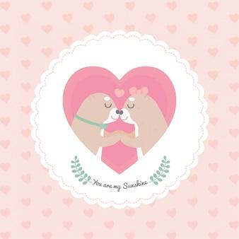 Cartoon cute otter heart frame
