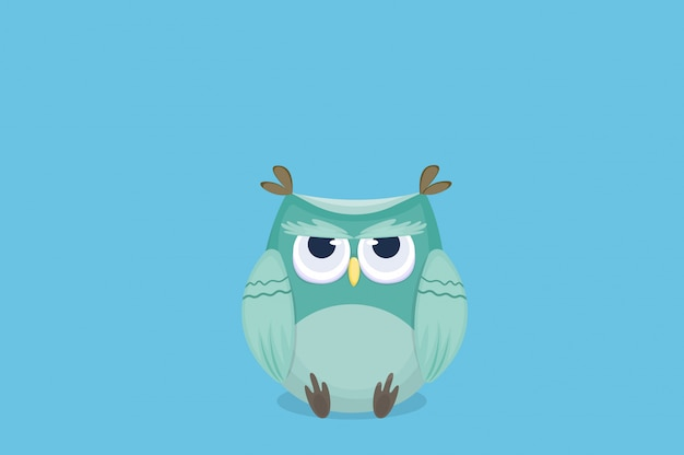 Cartoon cute owl is under stress