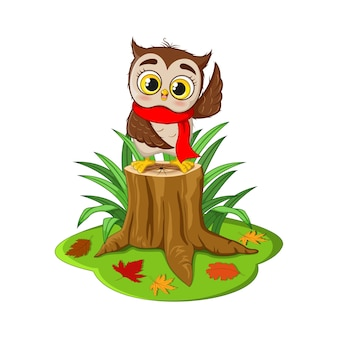 Cartoon cute owl in red scarf on tree stump
