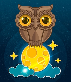 Cartoon cute owl sitting on a moon