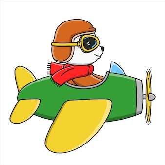 Cartoon cute panda flying with an airplane  illustration