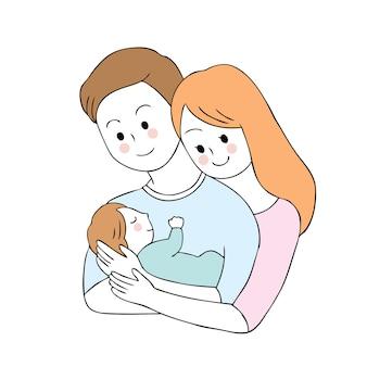 かわいい親と赤ちゃんのベクトル漫画。
