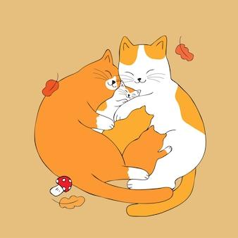 Cartoon cute parents hug baby cat vector.