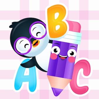 Cartoon cute penguin holding pencil with alphabet