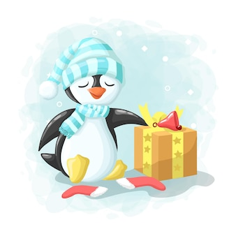 Cartoon cute penguin with gift box merry christmas illustration