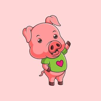손을 흔들며 만화 귀여운 돼지