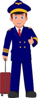 漫画のかわいいパイロットは親指を立ててスーツケースを持っています
