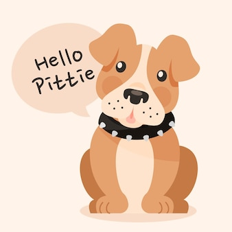 Cartoon carino pitbull illustrazione