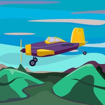 青い空と緑の飛行機の正面図の風景に着陸する漫画のかわいい飛行機がやってくる