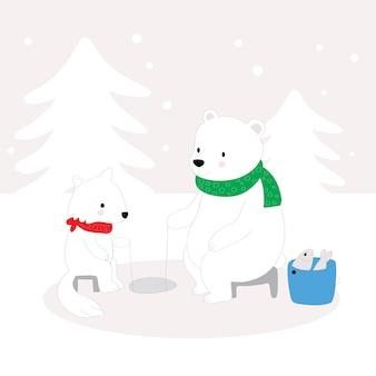 Cartoon cute polar bear and snow fox fishing on ice.