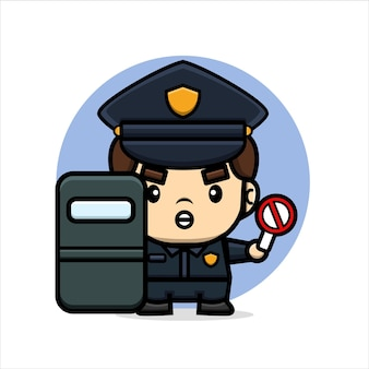 Cartoon cute police hold on shield and forbid sign board