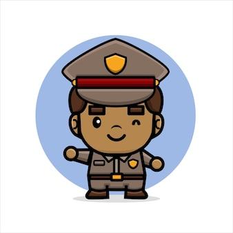 만화 귀여운 경찰 미소