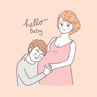 Cartoon cute pregnant woman and husband
