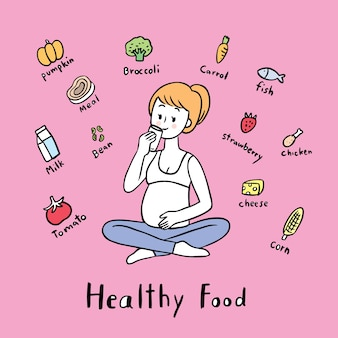 Cartoon cute pregnant woman and useful food vector.