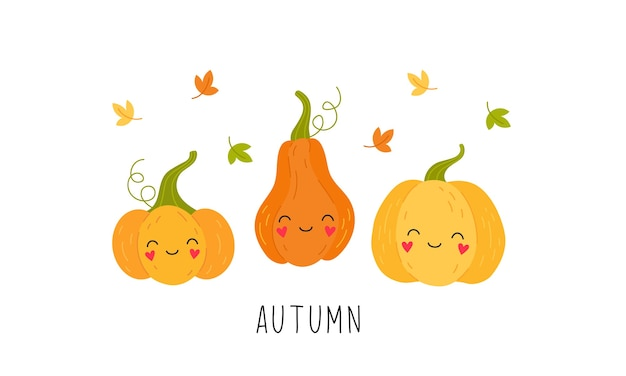 Cartoon cute pumpkin, falling autumn leaves. isolated illustration on a white background.