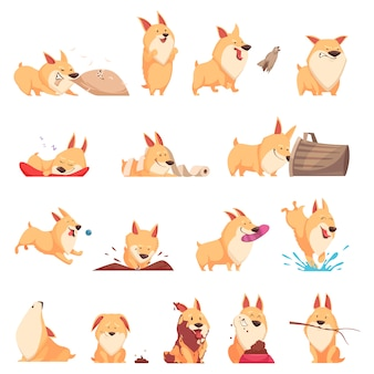 Cartoon cute puppy set of different situations