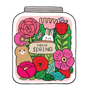 Мультфильм милый кролик и медведь и цветы в векторе стеклянной бутылки