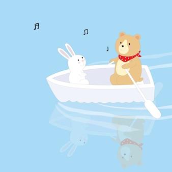귀여운 토끼와 곰 호수에서 보트 만화.