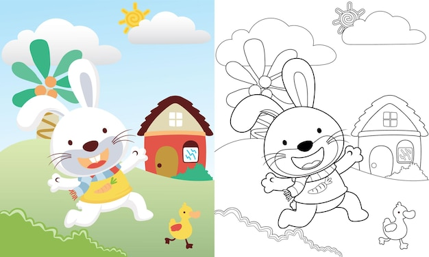 Cartoon of cute rabbit chasing duckling on landscape view background