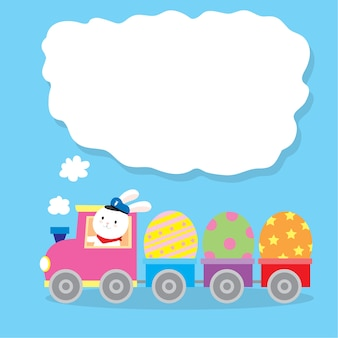 Cartoon cute  rabbit driving a train and easter eggs