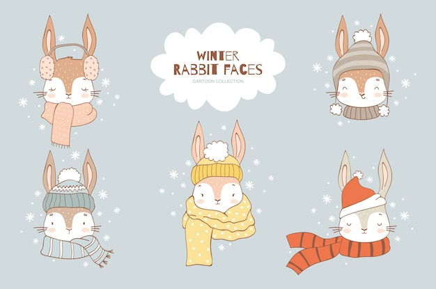 Cartoon cute rabbit face characters collection in knitted hat and scarf cold winter