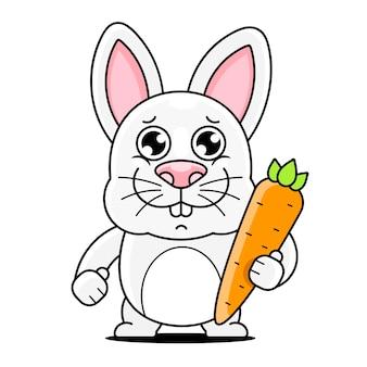 グリーティングカード、ポスター、tシャツの印刷に適した漫画のかわいいウサギのポーズのベクトルイラスト。