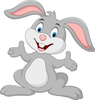Cartoon cute rabbit posing