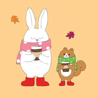 Cartoon cute rabbit and squirrel drinking coffee