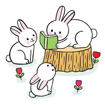 Мультфильм милые кролики читают книгу вектор