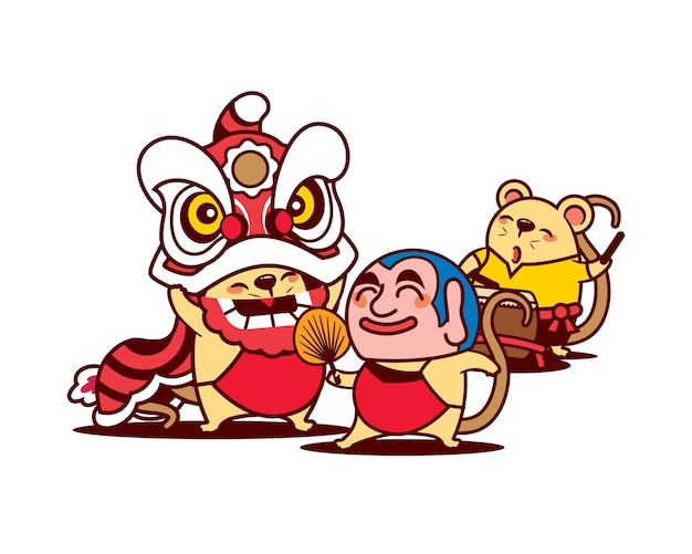 Cartoon cute rats performing lion dance on chinese new year festival