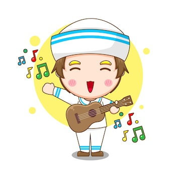 만화 귀여운 선원 남자 기타 연주