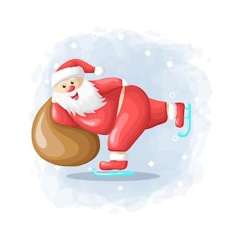 Cartoon cute santa claus merry christmas illustration