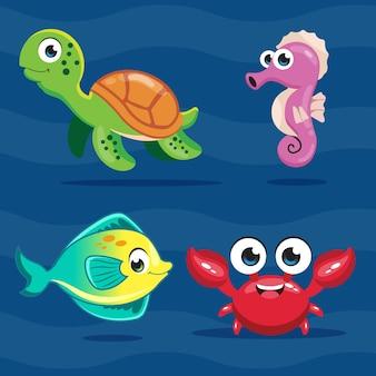 Мультфильм симпатичные морские животные набор иллюстрации