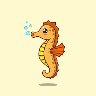 Cartoon cute seahorse popping bubbles