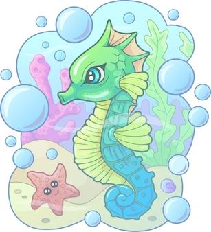 Мультфильм милый морской конек с пузырьками и звездами