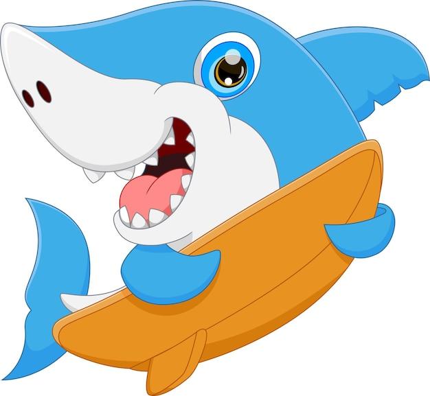 Cartoon cute shark holding surfboard