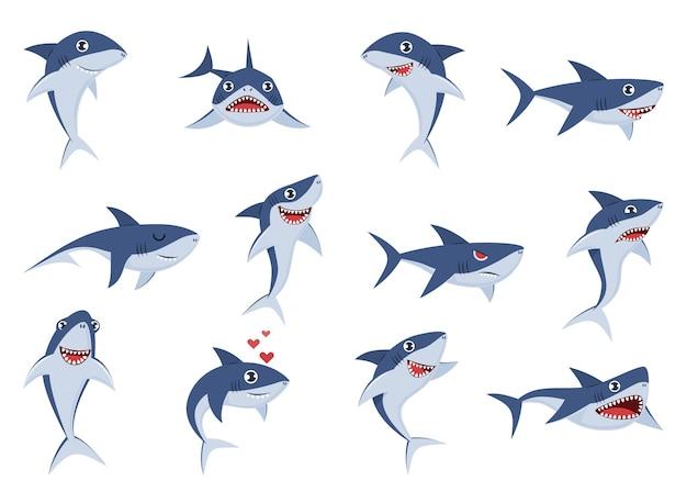 Мультяшные милые акулы. подводные персонажи с разными эмоциями, счастливые, грустные и удивленные, улыбка, смешные и злые океанские плавающие рыбы, веселые наклейки-талисманы, набор комических животных с плоским вектором