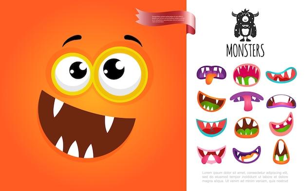 Концепция лица мультяшного милого глупого существа с красочными забавными ртами монстров
