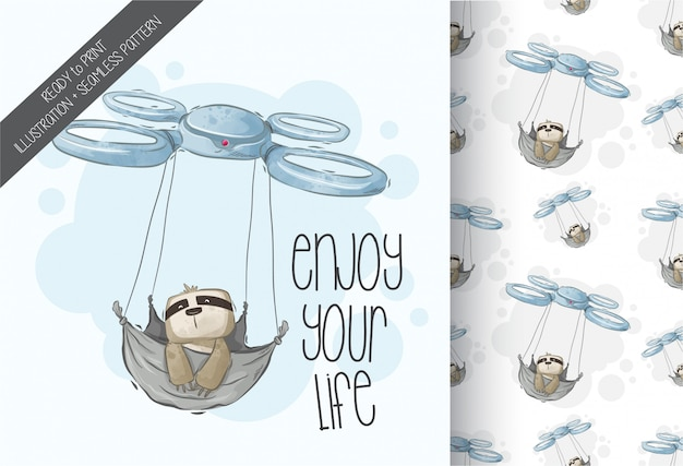 Cartoon cute  sloth flying with drone  seamless pattern