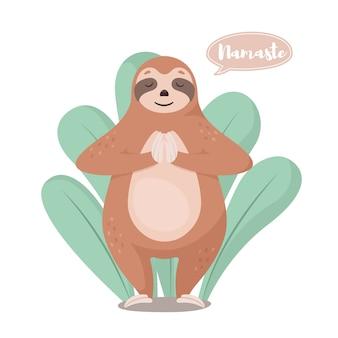 Cartoon cute sloth in greeting pose namaste.