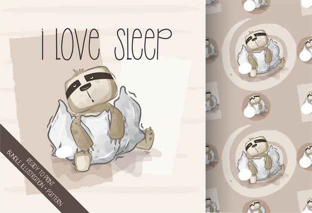 Cartoon cute  sloth happy sleep  seamless pattern