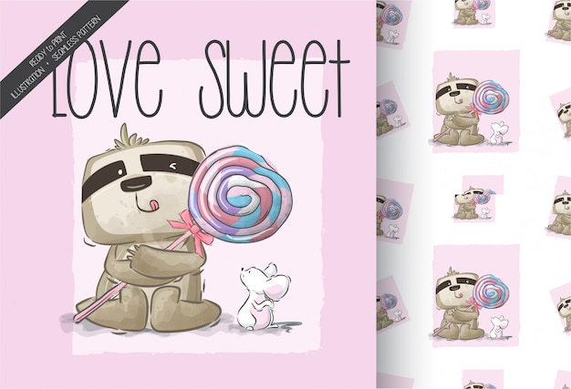 Cartoon cute sloth with sweet candy seamless pattern
