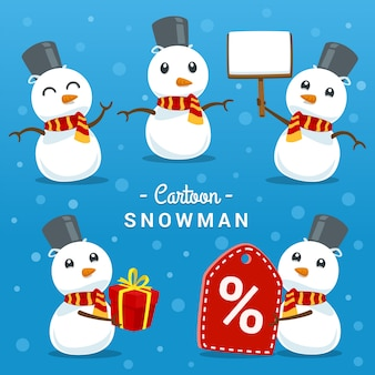 Cartoon cute snow man pose gesture template set