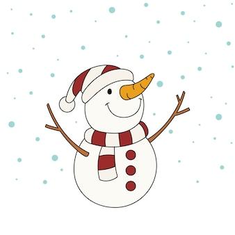 Мультфильм милый снеговик в зимнем головном уборе со снегом. привет, зима, концепция с новым годом и рождеством,