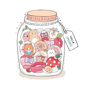 Cartoon cute spring, bear and rabbit and fox and deer in jar