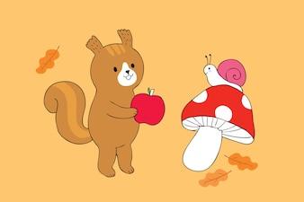 Мультфильм мило белка и улитки и яблоко вектор.